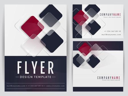 cuadrados: Conjunto de modelos visuales de identidad corporativa. Folleto, tarjeta de visita y una bandera cuadrada con decoración geométrica abstracta. Branding, diseño de papelería. Ilustración del vector.
