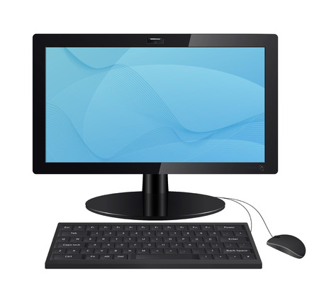 Computer monitor with keyboard and mouse isolated on white background. Raster illustration. Vector version is also included in the portfolio.