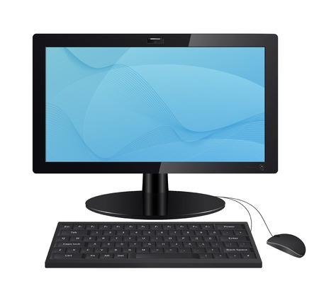 Monitor komputera z klawiatury i myszy na białym tle. Ilustracja Raster. Wektor wersji jest również w portfelu.