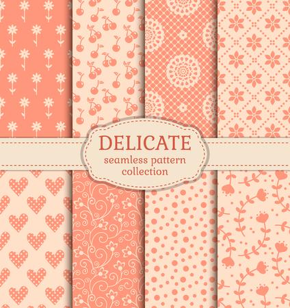 かわいいパターンのセットです。繊細な色のシームレスな背景のコレクションです。ベクトルの図。  イラスト・ベクター素材