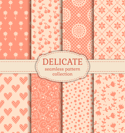 Set of cute patterns. Collection of seamless backgrounds in delicate colors. Vector illustration.