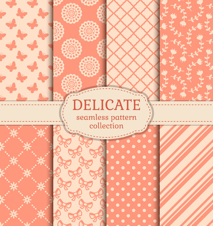 Set of cute patterns. Collection of seamless backgrounds in delicate colors. Vector illustration. Illustration