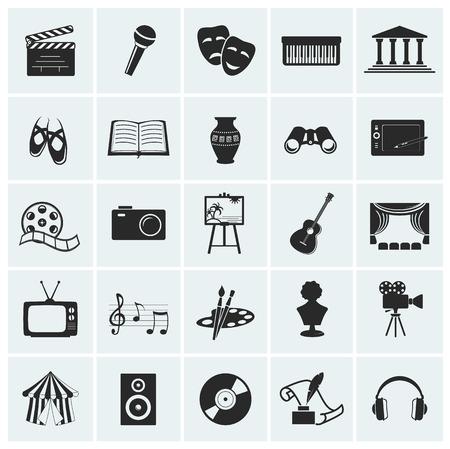 teatro mascara: Colección de 25 iconos de artes y creativas. Ilustración del vector. Vectores