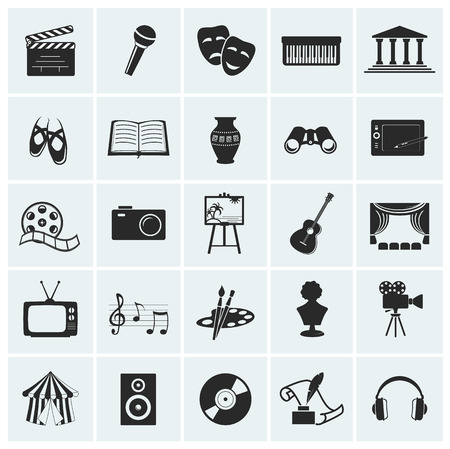 at the theater: Collection of 25 arts and creative icons. Vector illustration.