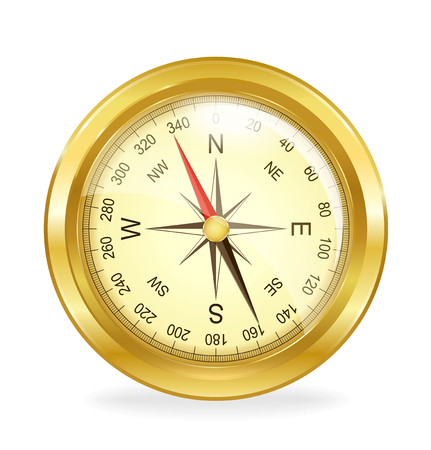 routes: Detailed vintage compass on a white background. Vector illustration.