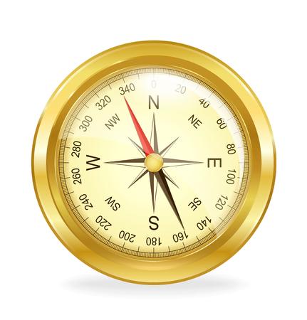 Detaillierte Vintage-Kompass auf einem weißen Hintergrund. Vektor-Illustration.