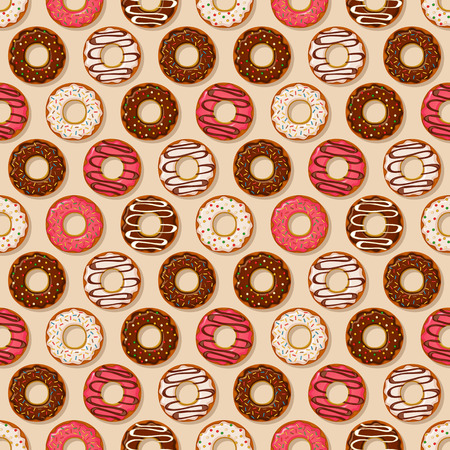 icing: Donuts backgrounds with different sweet icing. Vector seamless pattern.