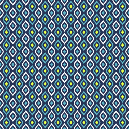 Abstract seamless pattern in blue, white and green colors. Vector background. Ilustração