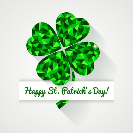 saint: Happy St. Patricks Day! Greeting card. Low poly clover leaf with long shadow. Vector illustration.