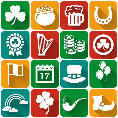 march 17: Happy St. Patricks Day! Collection of holiday icons in flat style with long shadows. Set of 16 white silhouette symbols on a colorful plates. Vector illustration.
