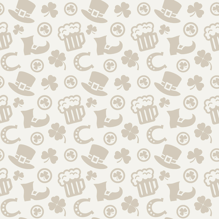 march 17: Happy St. Patricks Day! Seamless pattern with traditional holiday symbols. Background in gray colors. Vector illustration.