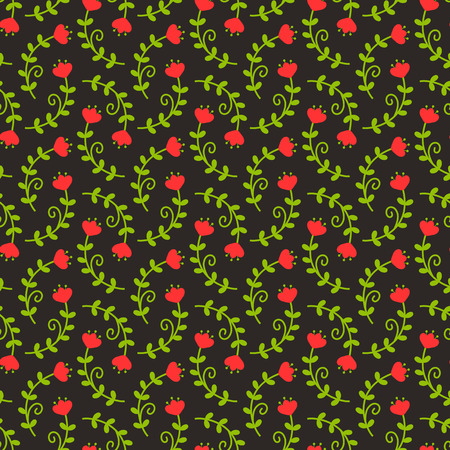 green flowers: Floral pattern in black, red and green colors. Seamless background with fancy flowers. Vector illustration.