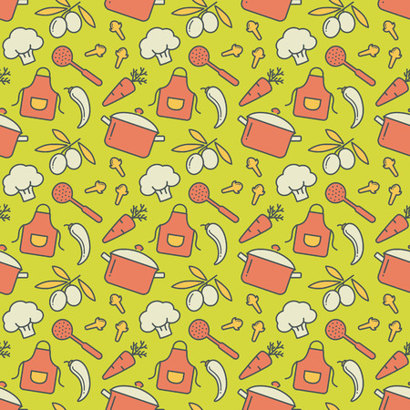 house ware: Food and kitchen seamless pattern. Cute background with colored icons for culinary theme. Vector illustration. Illustration