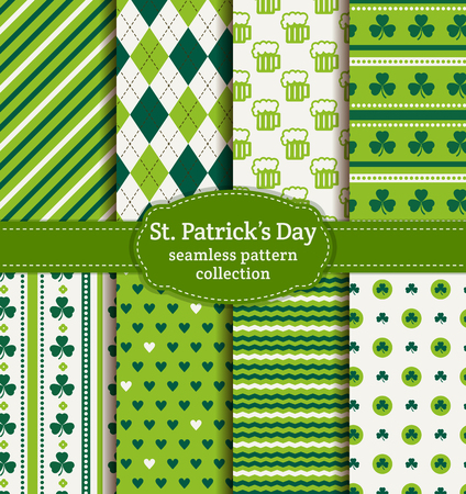 march 17: Happy St. Patricks Day! Set of holiday backgrounds. Collection of seamless patterns in green, blue-green and white colors. Vector illustration.