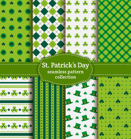 shamrock: Happy St. Patricks Day! Set of holiday backgrounds. Collection of seamless patterns in green, blue-green and white colors. Vector illustration.