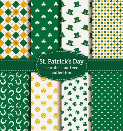 saint: Happy St. Patricks Day! Set of holiday backgrounds. Collection of seamless patterns in green, yellow and white colors. Vector illustration. Illustration