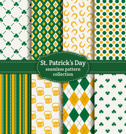 Happy St. Patrick's Day! Set of holiday backgrounds. Collection of seamless patterns in green, yellow and white colors. Vector illustration. Vector Illustration