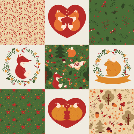retro cartoon: Baby seamless patterns and illustrations. Set of cute childrens textiles and elements in green, orange, red and white colors. Vector collection with hand drawn forest animals, flowers and plants.