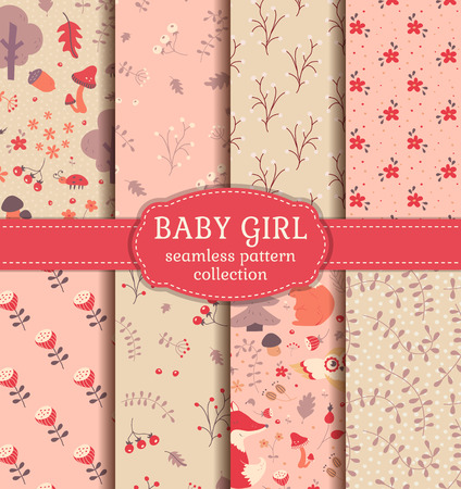 woodland: Baby girl seamless patterns! Set of cute childrens textiles. Backgrounds with forest animals, flowers and plants. Vector collection.