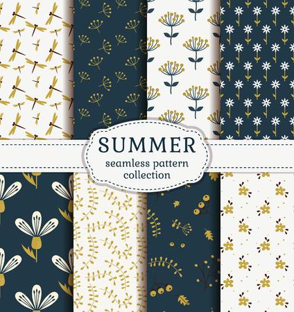 patrones sin fisuras de verano con flores, plantas y libélulas. Conjunto de textiles naturales lindos en azul, dorado y los colores blancos. Colección de vector.