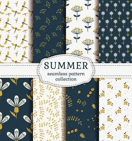Summer seamless patterns with flowers, plants and dragonflies. Set of cute nature textiles in blue, gold and white colors. Vector collection. Vectores