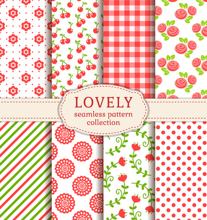 Set of cute patterns. Collection of seamless backgrounds in white, green and pink colors. Vector illustration.