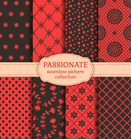 fabric patterns: Vector patterns set. Collection of seamless backgrounds in red and black colors. Illustration