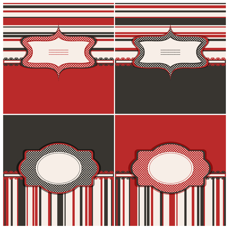 brown backgrounds: Set of red and brown backgrounds with blank tags. Vector illustration. Illustration