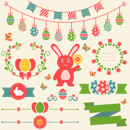 Happy Easter! Set of retro decorations isolated on light background. Collection of cute elements for scrapbooking, festive invitations, page and website decor or any other design. Vector illustration.