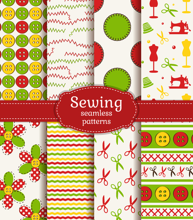 fabric patterns: Bright set of sewing and needlework seamless patterns. Vector illustration.