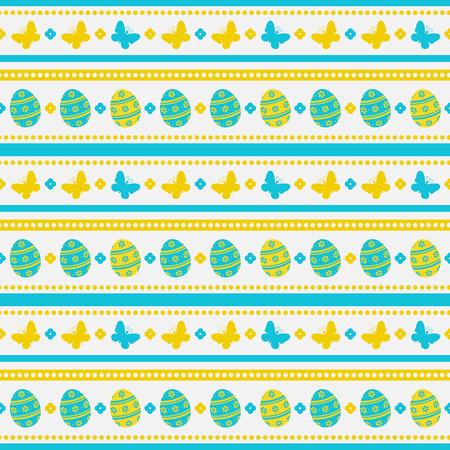 Gestreepte Pasen achtergrond met eieren en vlinders. Vector naadloos patroon.
