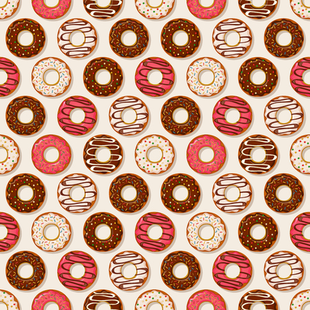donut shop: Seamless pattern with sweet donuts on a white background. Vector illustration.