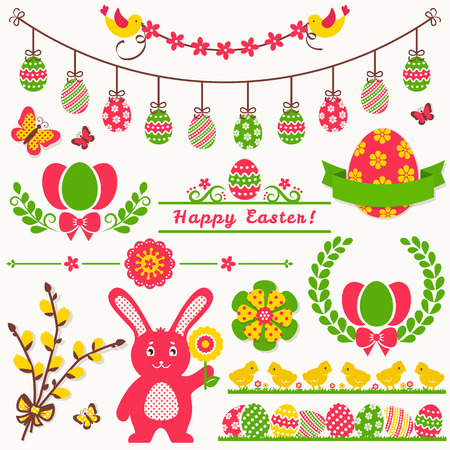 dividing line: Happy Easter! Set of decorations isolated on light background. Collection of colorful cute elements for scrapbooking, festive invitations, page and website decor or any other design. Vector illustration. Illustration
