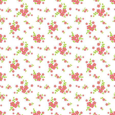 Bloemen patroon in wit, roze en groene kleuren. Naadloze achtergrond met leuke kleine bloemen. Vector illustratie.
