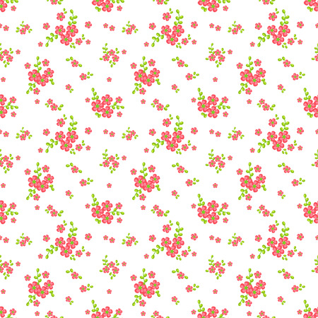 Floral pattern in white, pink and green colors. Seamless background with cute small flowers. Vector illustration.