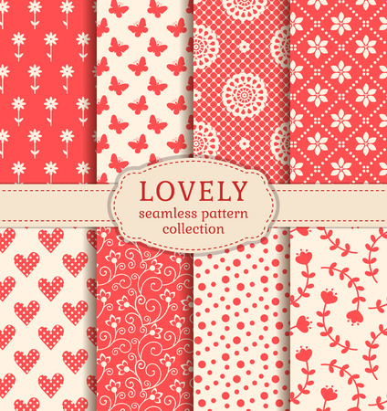 butterfly and women: Set of cute patterns. Collection of seamless backgrounds in white and pink colors. Vector illustration. Illustration