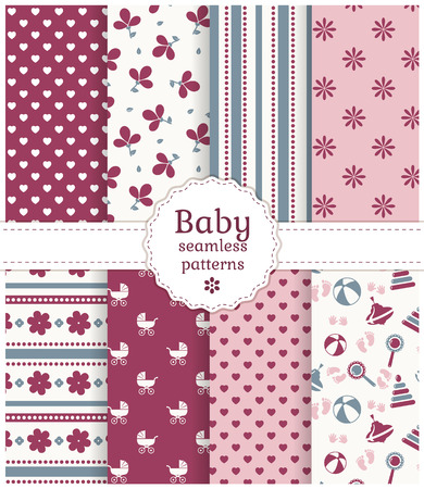 Collection of baby seamless patterns in white, purple, pink and gray colors. Vector illustration.