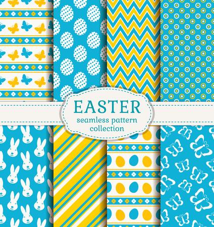 ¡Felices Pascuas! Conjunto de fondos lindo día de fiesta. Colección de patrones sin fisuras en colores blanco, azul y amarillo. Ilustración del vector. Ilustración de vector