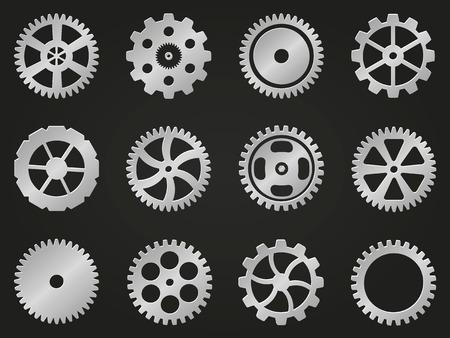 mechanism: Set of vector cogwheels (gear wheels)  in various design. Illustration