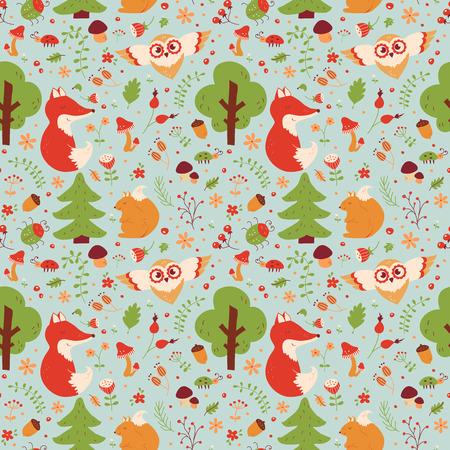 Modelo inconsútil del bosque con animales dibujados a mano, flores y plantas. textil naturaleza linda en colores azul, verde, rojo, marrón, naranja y blanco. Fondo del vector para el diseño del bebé.