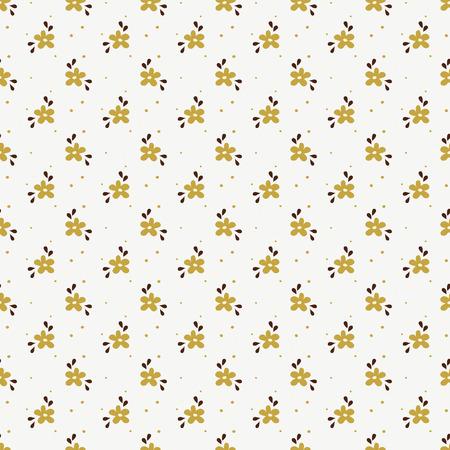 Modelo floral en blanco, dorado y marrón. De fondo sin fisuras con pequeñas flores dibujadas a mano. Ilustración del vector.