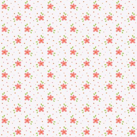 白、ピンクと緑の色の花柄。小さな手でシームレスな背景には、花が描かれています。ベクトルの図。 写真素材 - 51696051
