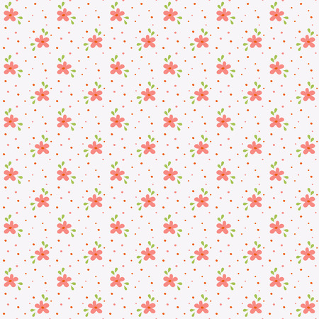 small flowers: Floral pattern in white, pink and green colors. Seamless background with small hand drawn flowers. Vector illustration. Illustration