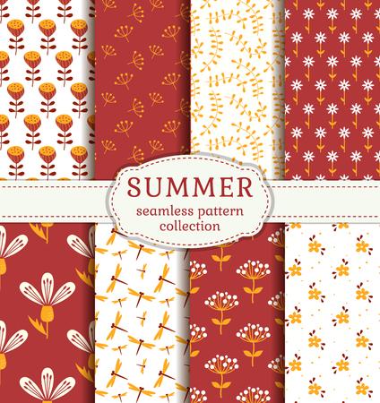 夏の花、植物、トンボとシームレスなパターン。赤、オレンジと白の色でかわいい自然繊維のセットです。ベクター コレクション。 写真素材 - 51696076
