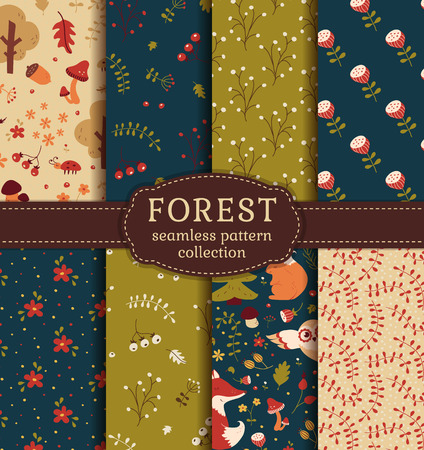 Forest seamless patterns with hand drawn animals, flowers and plants. Set of cute nature textiles in blue, green, red and beige colors. Vector collection for baby design. Stock Illustratie
