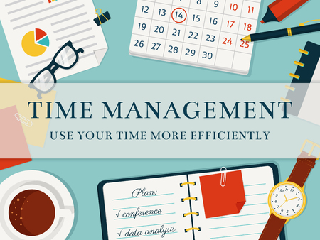 self control: Time management banner. Efficient use of time for implementation of the plan. Vector concept background. Top view of the workplace. Flat style.