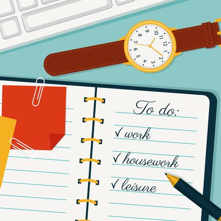 banner de la gestión del tiempo. uso eficiente del tiempo para la ejecución de los planes. Vector del fondo del concepto de estilo plano. Vista superior de la lista hay que hacer en un cuaderno, reloj del mitón, pluma, marcador y el teclado.