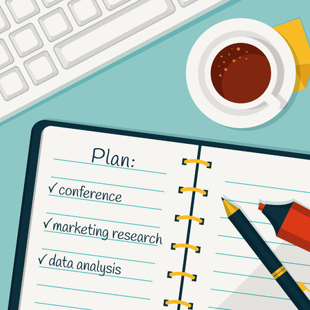 implementation: Implementation of the work plan. Vector concept background in flat style. Banner with day planning in a notebook, cup of coffee and keyboard. Business and office theme.