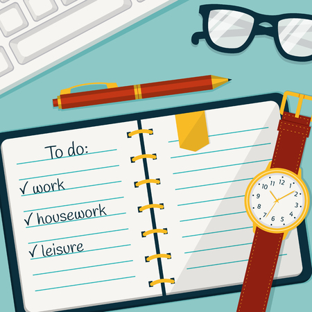 self control: Time management banner. Efficient use of time for implementation of the plans. Vector concept background in flat style. Top view of to do list in a notebook, wristlet watch, pen, glasses and keyboard.