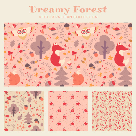 animals collection: Baby girl seamless patterns with hand drawn forest animals, flowers and plants. Set of cute childrens textiles in pastel pink, purple, beige and white colors. Vector collection.